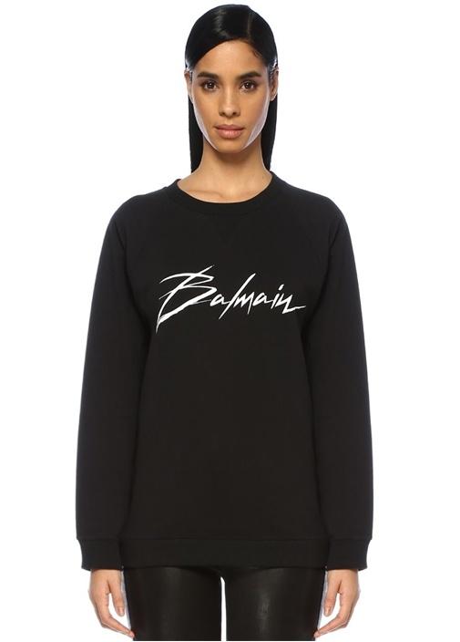 Siyah Logo Baskılı Reglan Kol Sweatshirt
