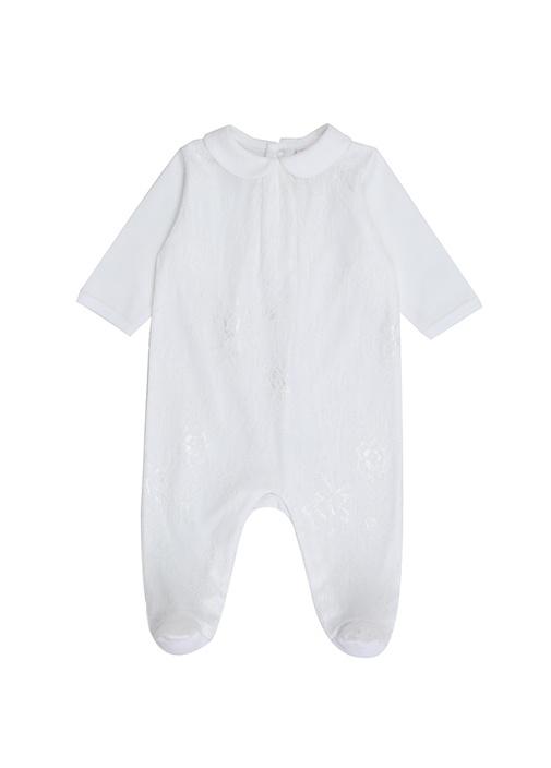 Beyaz Bebe Yaka Dantel İşlemeli Kız Bebek Tulum