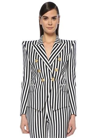 Lacivert Beyaz Kırlangıç Yaka Kruvaze Blazer Ceket