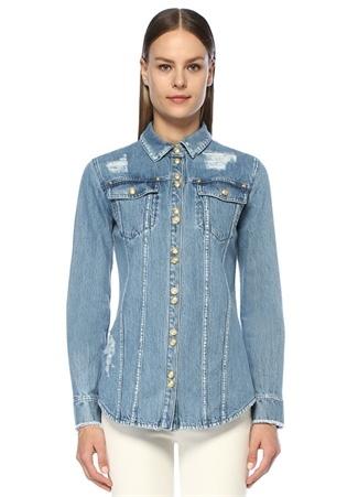 Kadın İngiliz Yaka Gold Düğmeli Yıpratmalı Denim Gömlek Mavi 36 FR