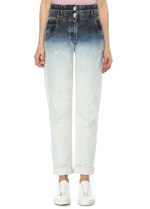 Yüksek Bel Kat Detaylı Degrade Jean Pantolon