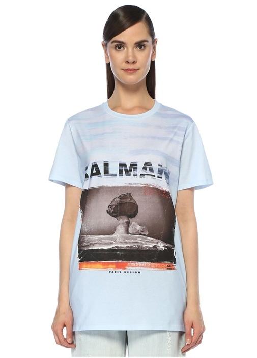 Mavi Logo Baskılı Oversize T-shirt