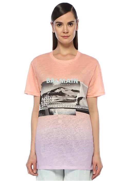 Pembe Degrade Logo Baskılı Oversize T-shirt