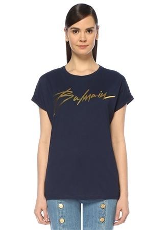 Lacivert Bisiklet Yaka Gold Logolu T-shirt