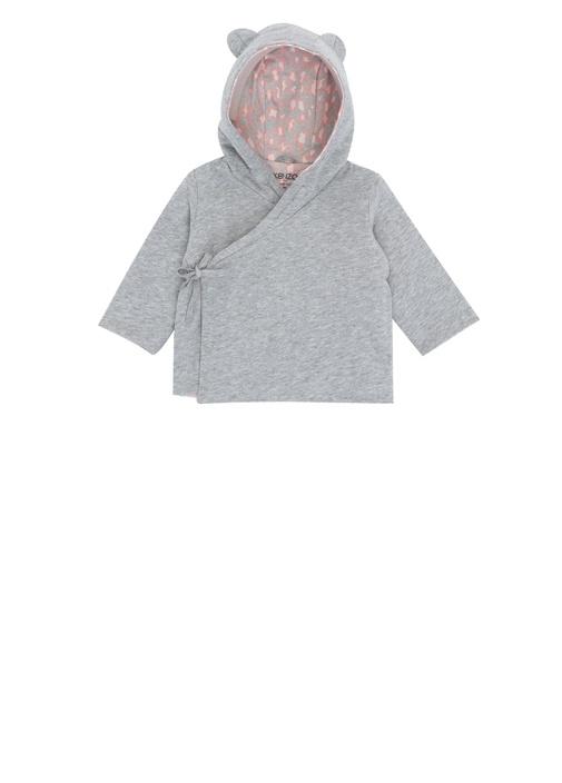 Gri Kapüşonlu Anvelop Logolu Kız Bebek Hırka