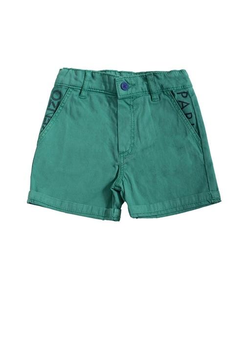 Yeşil Normal Bel Logo Nakışlı Erkek Çocuk Şort