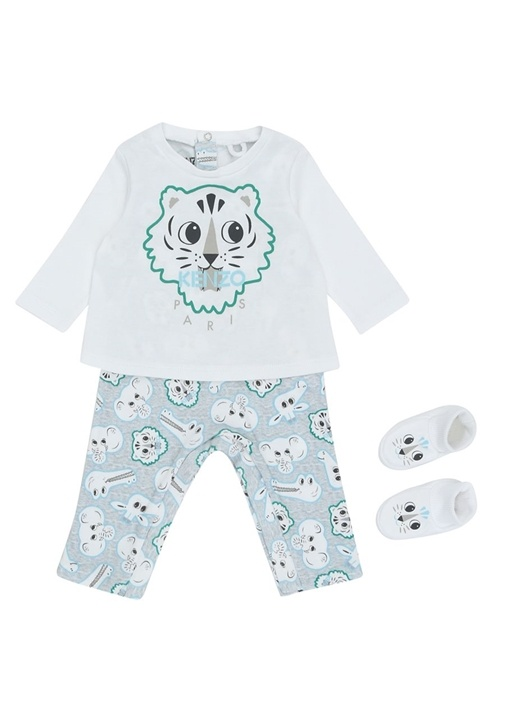 Beyaz Organik Pamuklu Erkek Bebek TulumSeti