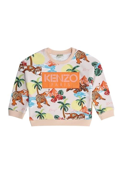 Hawaii Pembe Desenli Kız Çocuk Sweatshirt