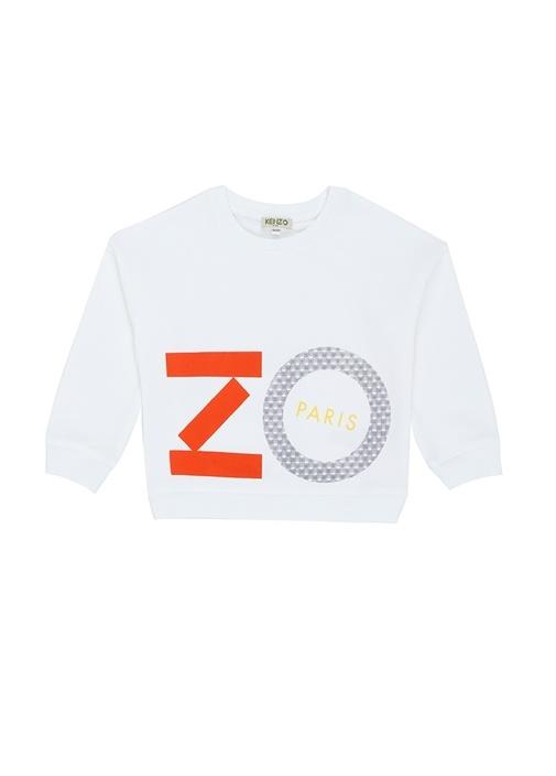 Beyaz Bisiklet Yaka Logolu Kız Çocuk Sweatshirt