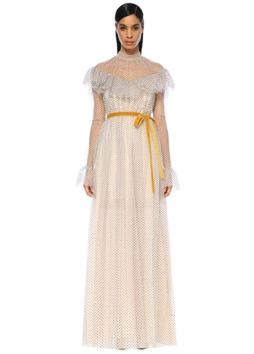 Mirabelle Beyaz Puantiyeli Maksi Tül Elbise