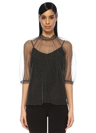 Kadın Nayla Siyah Beyaz Puantiyeli Tül Bluz 12 US