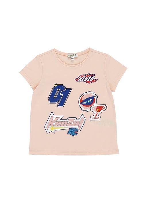 Racing Pembe Baskılı Kız Çocuk T-shirt