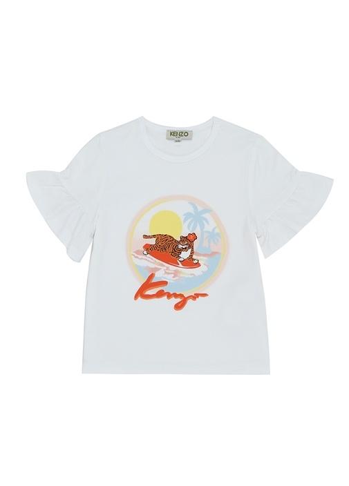 Hawai Beyaz Kaplan Baskılı Kız Çocuk T-shirt