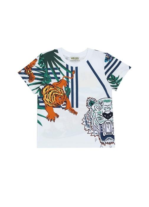 Hawai Beyaz Kaplan Baskılı Erkek Çocuk T-shirt