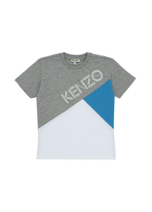 Gri Logo Baskılı Renk Detaylı Erkek Çocuk T-shirt