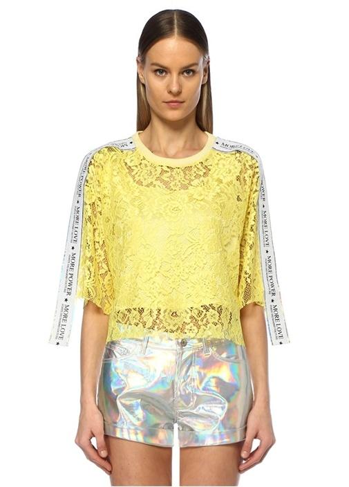 Sarı Silver Logo Şeritli Düşük Kol Dantel T-shirt