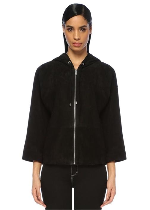 Siyah Kapüşonlu Yanları Fermuarlı Süet Ceket