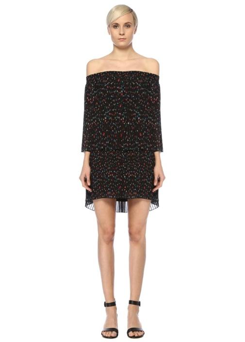Siyah Omzu Açık Çiçekli Pilili Mini Şifon Elbise