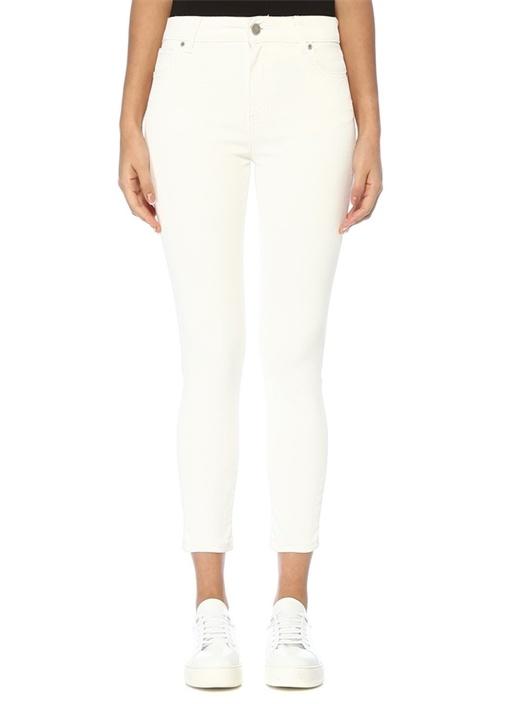 Beyaz Normal Bel Dar Paça Suni Deri Pantolon