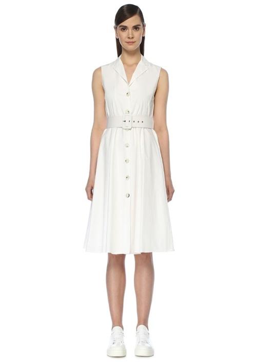 Beyaz Beli Kemerli Kolsuz Midi Gömlek Elbise