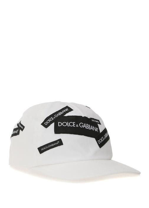 Beyaz Siyah Logolu Erkek Çocuk Şapka