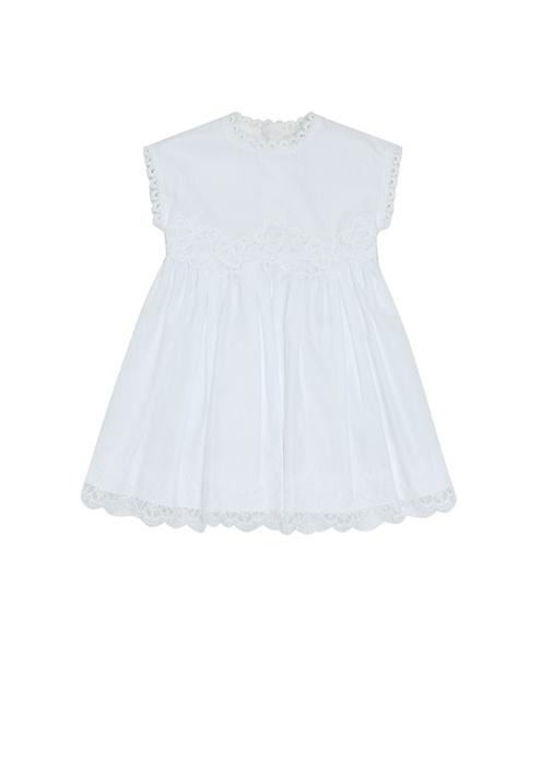 Beyaz Fisto Detaylı Dantelli Kız Bebek Elbise