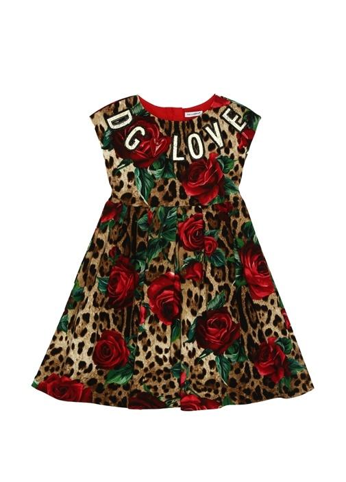 Leopar Desenli Logo Patchli Kız Çocuk Elbise