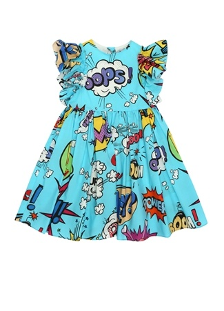 Kız Çocuk Mavi Çizgi Film Temalı Volanlı Elbise 2 Yaş EU
