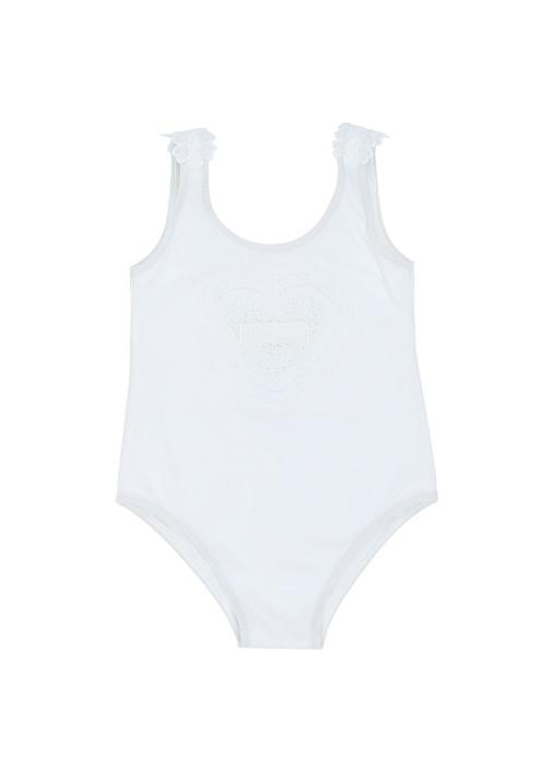 Beyaz Dantel Garnili Kız Bebek Mayo