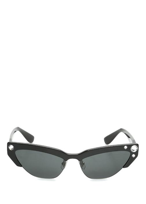 Siyah Cat Eye Formlu İşlemeli Kadın Güneş Gözlüğü