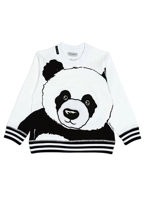 Beyaz Panda Baskılı Erkek Çocuk Sweatshirt