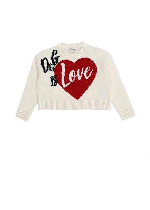 Beyaz Logolu Kalp Desenli Kız Çocuk YünKazak
