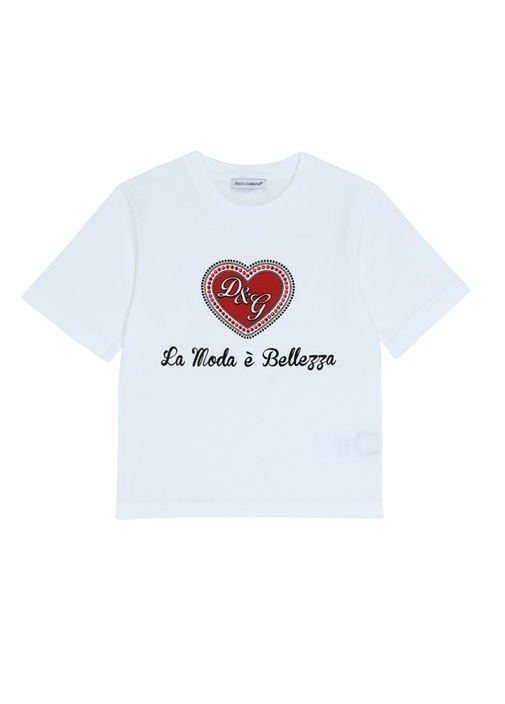 Beyaz Kırmızı Logo Baskılı Kız Çocuk T-shirt