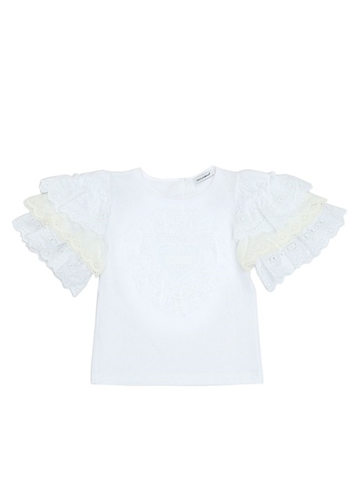 Beyaz Fırfır Detaylı Kız Çocuk T-shirt