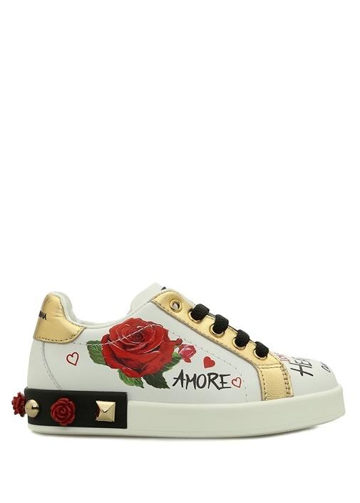Amore Beyaz Çiçek Desenli Logolu Kız Çocuk Deri Sn