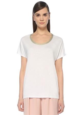 Beyaz U Yaka Gold Triko Bantlı T-shirt