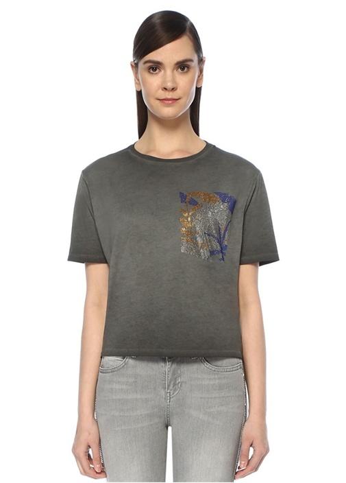 Antrasit Göğsü Taş Baskılı T-shirt