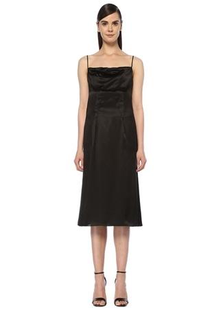 Versace Kadın Siyah İnce Askılı Drapeli Midi İpek Saten Elbise 40 IT