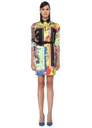 4903b38e2d844 Çiçek Desenli Kemerli Mini İpek Gömlek Elbise
