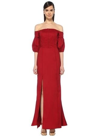 0c787ed1698e1 Only With You Kırmızı Omzu Açık Maksi Elbise