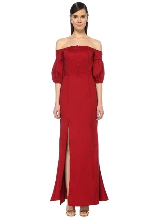 Only With You Kırmızı Omzu Açık Maksi Elbise