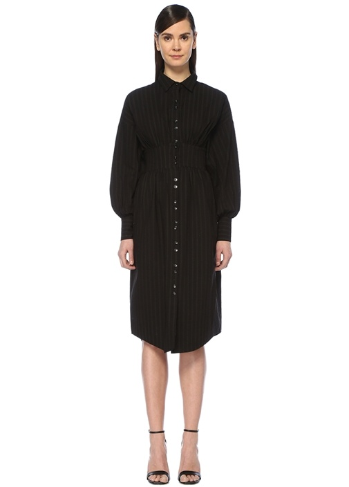 Reform Siyah Çizgili Uzun Kol Midi Gömlek Elbise