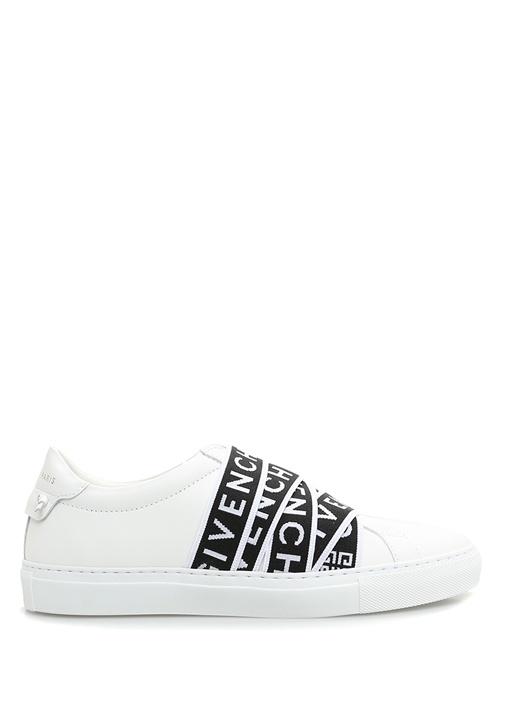 Beyaz Çapraz Logo Şeritli Kadın Deri Sneaker