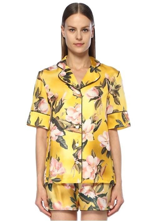 Bendis Sarı Kelebek Yaka Çiçekli Kısa Kol Gömlek