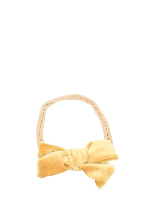 Velvet Mini Sarı Kız Çocuk Bandana