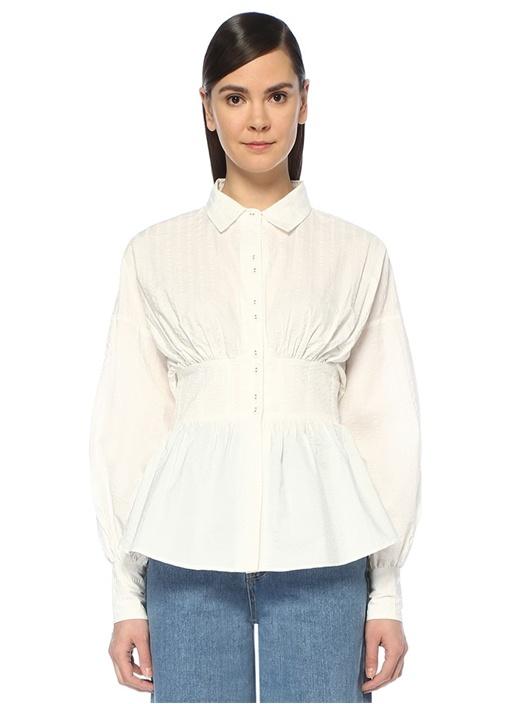 Reform Ekru Çizgili Peplum Detaylı UzunKol Bluz