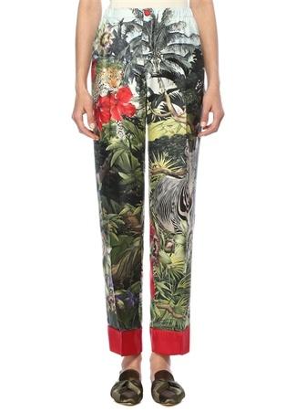 Etere Tropikal Desenli Boru Paça İpek Pantolon