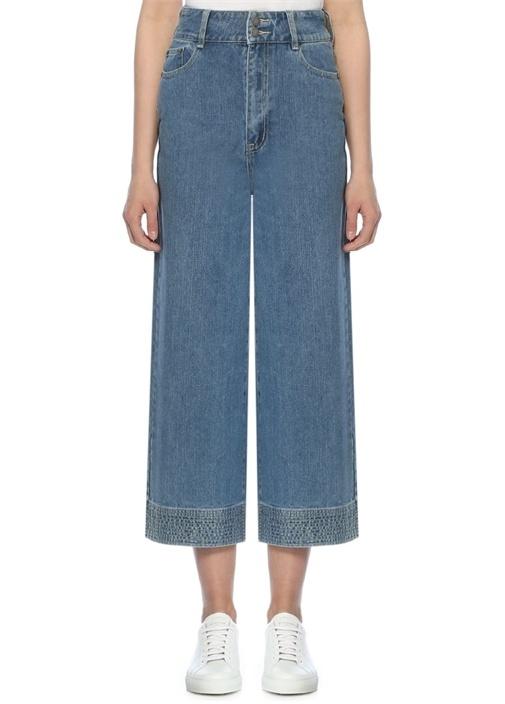 Essentials Yüksek Bel Bol Paça Jean Pantolon
