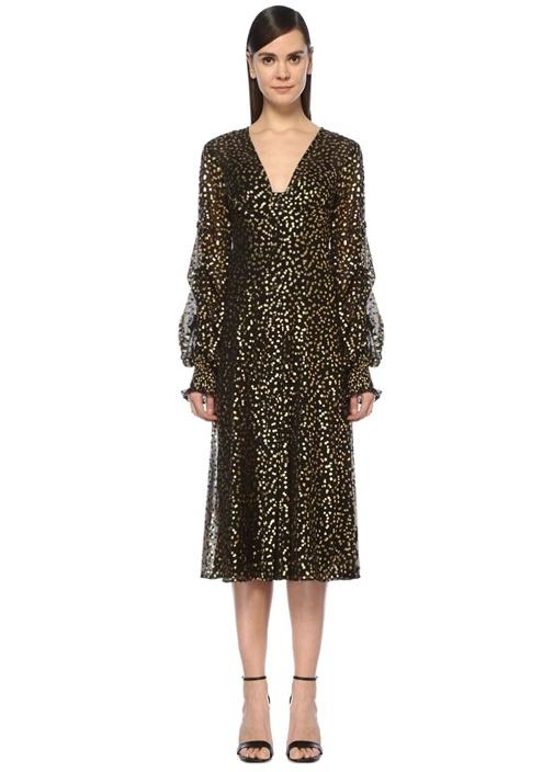 Loyalties Siyah Gold V Yaka Çiçekli Midi Elbise