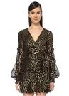 Loyalties Siyah Gold Çiçekli Mini Anvelop Elbise